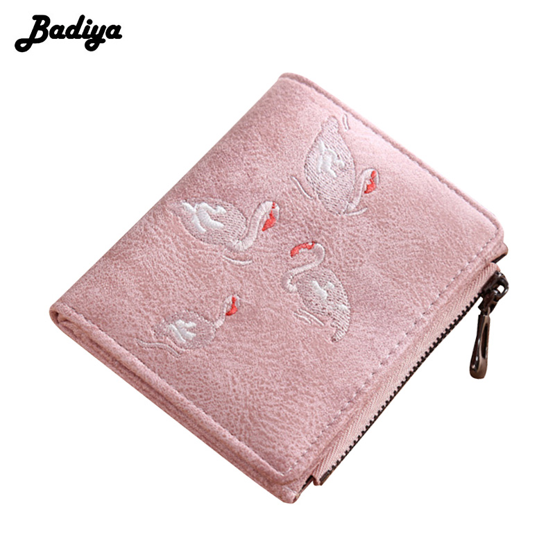 Embroidery Women Wallet Short Design Swan Scrub Leather PU Zipper Card Holder Mini Coin Purse Money Bag With Photo Slot Carteira