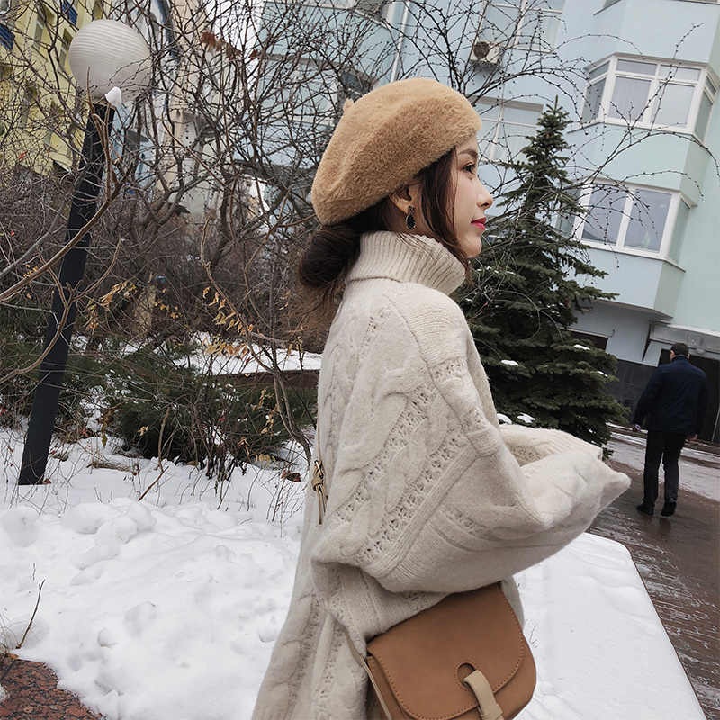 2019 mishow 가을 겨울 터틀넥 스웨터 여성 2019 느슨한 트위스트 꽈배기 패턴  긴 소매 흰색 풀오버 탑스 mx18d5409