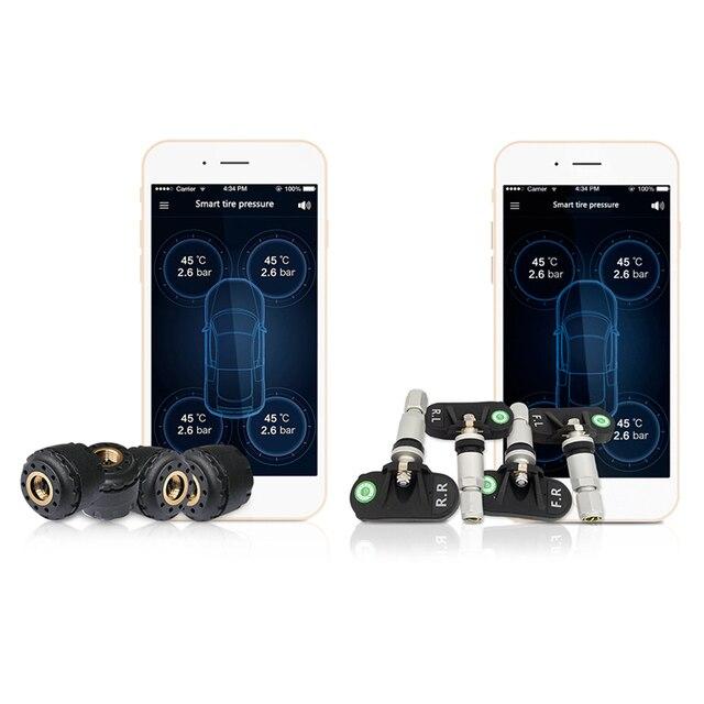 Tp630 Tpms Araba Bluetooth Tpms Lastik Basinci Psi Bar Sicaklik Alarm Sistemi 4 Sensorler Ile Ios