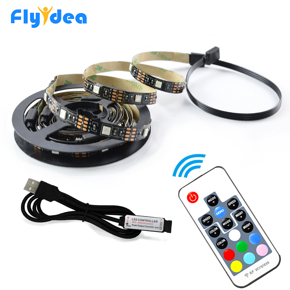 0.5M 2M USB Magic Light strip DC5V Flexible LED RGB light Tape Ribbon SMD5050 HDTV Screen Background Flash lamp RF Controller