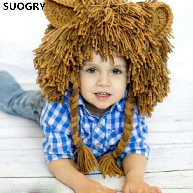 Creative Halloween Children New Style Manual Knitting Yarn Wig Cap Hip Hop Lion Hat Mask Wacky Halloween Gifts the new children s cubs hat qiu dong with cartoon animals knitting wool cap and pile