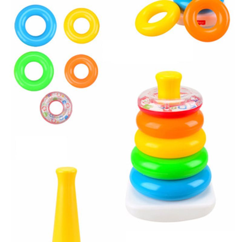 Multi Colors Ring Pyramid Baby Stacking Toys Set Brain Teaser Educational Tool