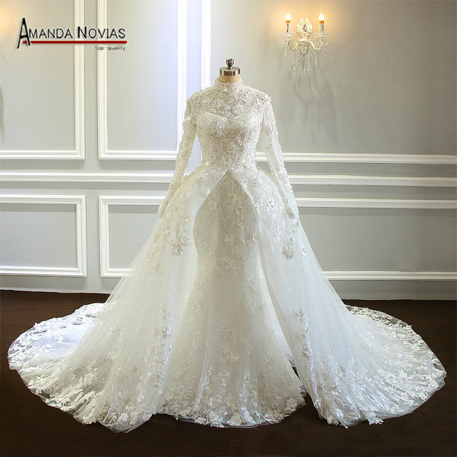 Amazing New Model Long Sleeve Muslim Wedding Dresses NS3374