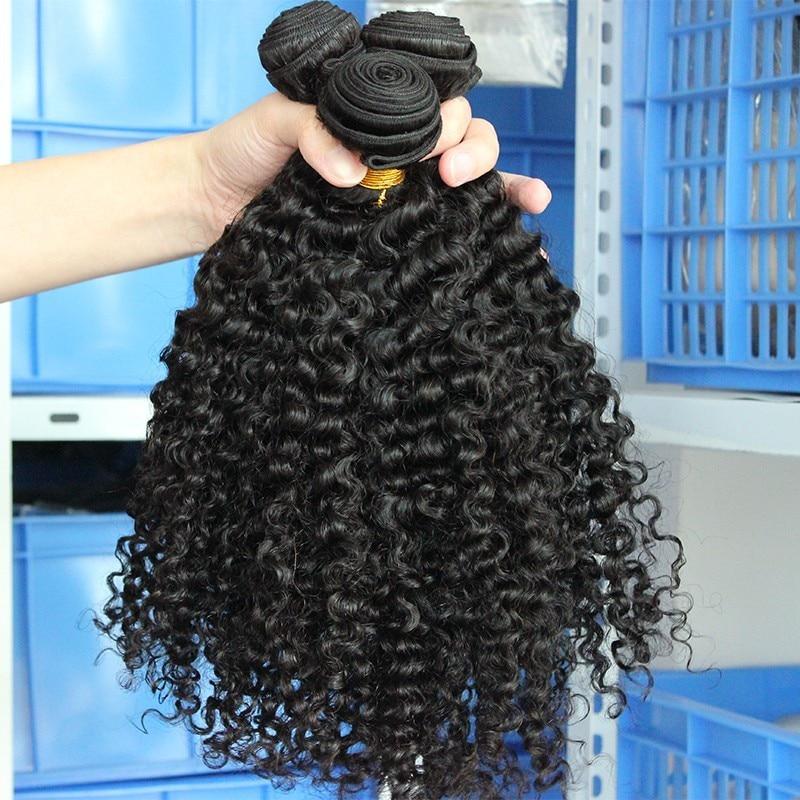 3B 3C Kinky Curly Weave մարդկային մազերի - Մարդու մազերը (սև) - Լուսանկար 2