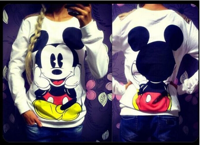 Ženska odeća ... Duksevi ... 32794724519 ... 3 ... 2016 Fashion New European Mickey printing Sweatshirt Hoodies Long Sleeve  loose women Crewneck  size S-XL Hot sale 2016 ...