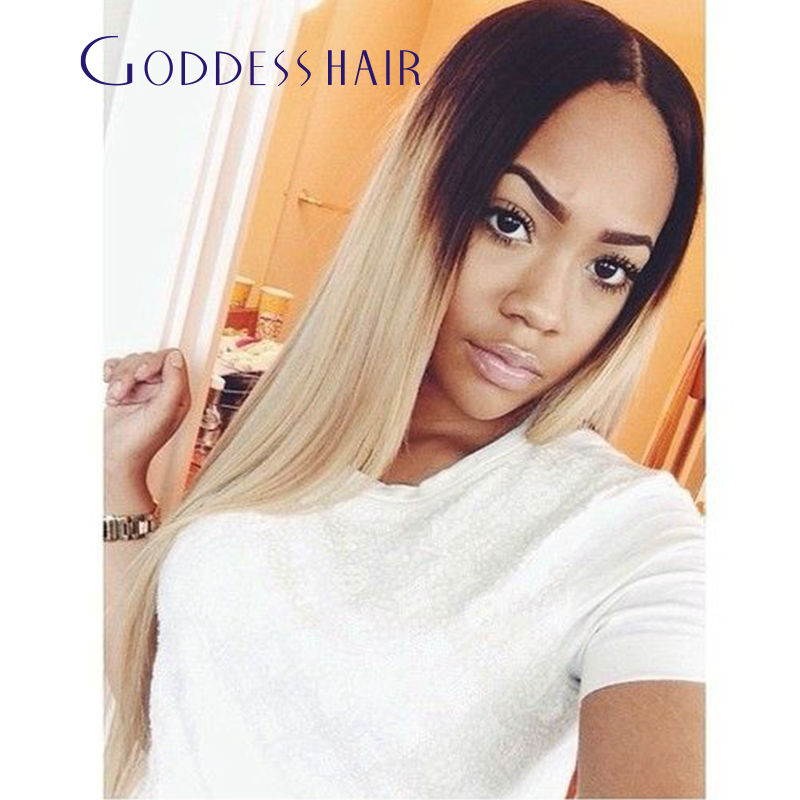 22 Inch Honey Blonde Black Root Ombre 1b 22 Middle Part Lace Front