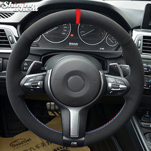 Черная замша чехол рулевого колеса автомобиля для bmw f30 f33