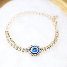 European New Evil Eye Charm Bracelets Gold Color Zinc Alloy Shiny Rhinestone Eyes Chain Bracelet Women Girl Fashion Jewelry