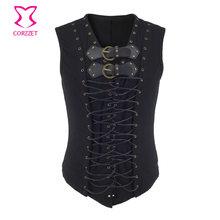 Jacket Costume Steampunk-Veste Waistcoat Lace-Up Black Gothic Sleeveless Suit Mens Cotton