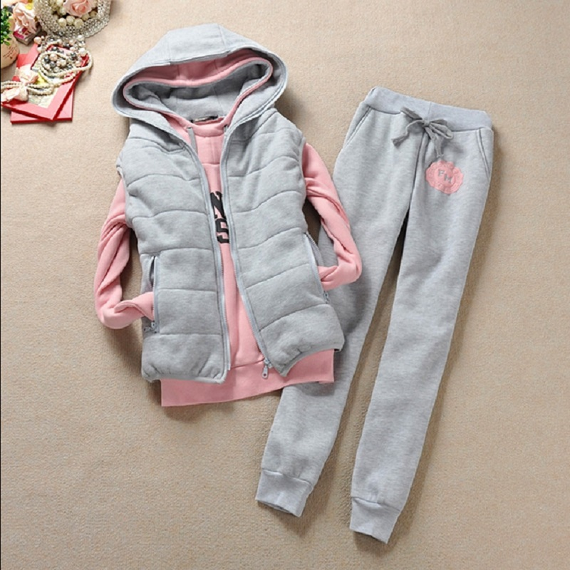 Autumn and winter 3 pieces set new Fashion women suit women's tracksuits casual set with a hood fleece sweatshirt coat+vest+pant
