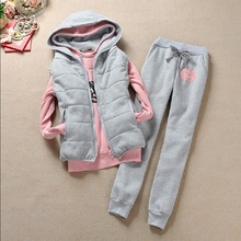 Autumn and winter 3 pieces set new Fashion women suit womens tracksuits casual with a hood fleece sweatshirt coat+vest+pant