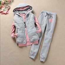 Autumn and winter 3 pieces set new Fashion women suit women's tracksuits casual set with a hood fleece sweatshirt coat+vest+pant(China)