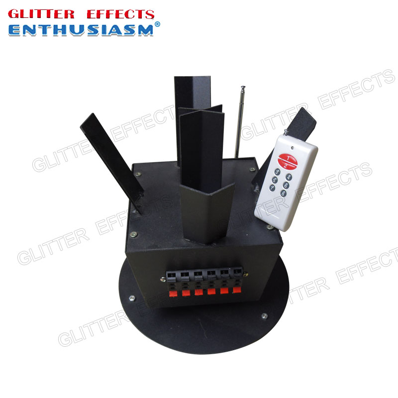 ELT06RY wireless remote control 6 channel rotating wedding cold pyro machine bison rolling grill