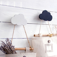 Popular 1 Bunny/Beard/Cloud Wall-mounted Hooks DIY Wooden Hanger Wall Decoration Kids Room Supplies(China)