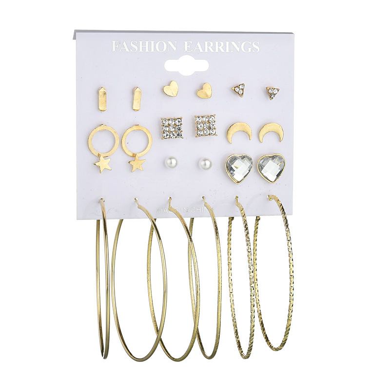 Europe and the United States new earrings stars moon love circle female personality earrings set 12 pairs of suit earrings