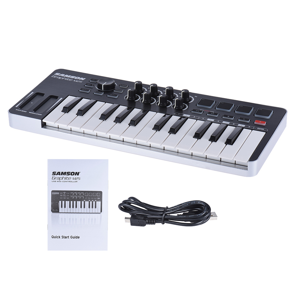 samson graphite m25 midi keyboard ultra portable mini 25 key midi controller keyboard with usb. Black Bedroom Furniture Sets. Home Design Ideas