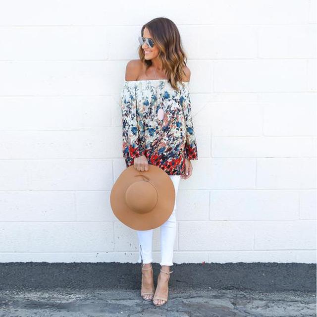 Primavera pullover mulheres camisa de moda de alta qualidade sexy de slash long neck sleeve impressão florar backless das senhoras soltos tops E347