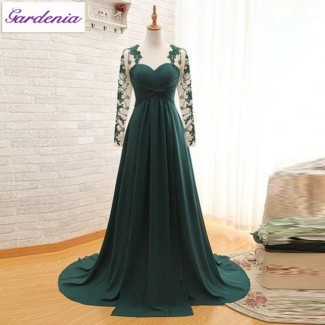 cec51ad850f Real Photos Emerald Green Prom Dress 2015 A-line Sweetheart Neckline Long  Sleeves Chiffon Long Cheap Evening Gown