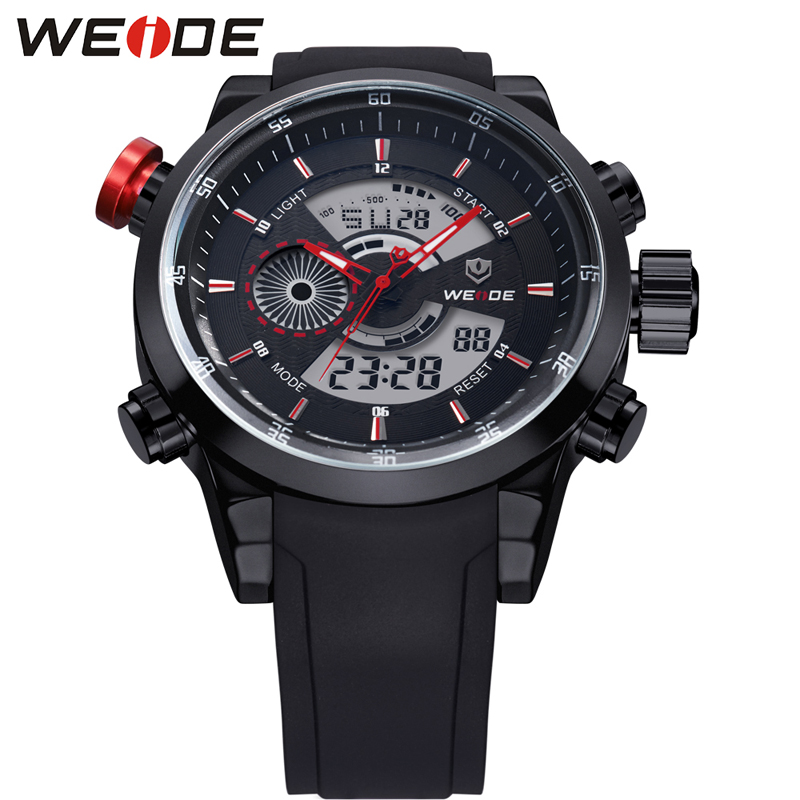 WEIDE Sport Watch 3ATM Quartz Dual Display Time Date Day Alarm Chronograph Rubber Strap Outdoor Analog Digital Men Wrist Watch