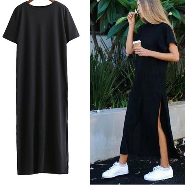 a4c9b3cd9e17 Wavaiov 2018 Maxi T Shirt Dress Women Summer Beach Sexy Ukraine Kyliejenner  Linen Boho Long Black Bodycon Dresses Plus Size