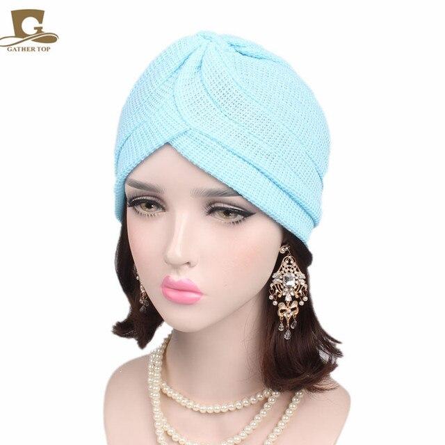 cb151ee81ada2 New fashion winter Cotton Turban Head Wrap Band Sleep Hat Indian Caps Scarf  Hats Ear Cap