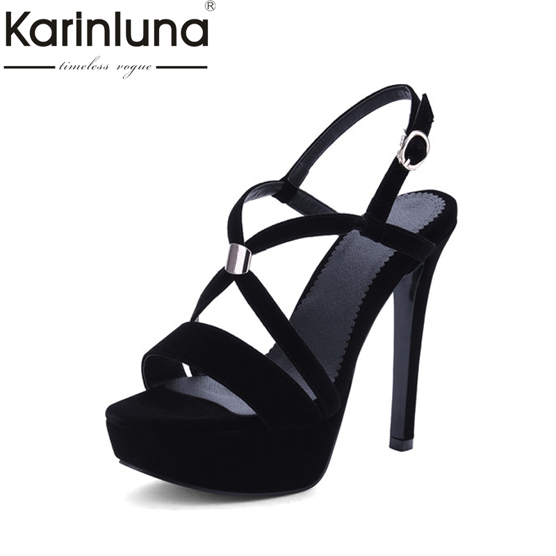Karinluna Women's Sexy High Heeled Summer Shoes Woman Buckle Up Open Toe Platform Sandals Big Size 33-43 shoes women 2017 summer new sweet buckle open toe wedge sandals high heeled shoes platform sandals size31 32 33 41 42 43