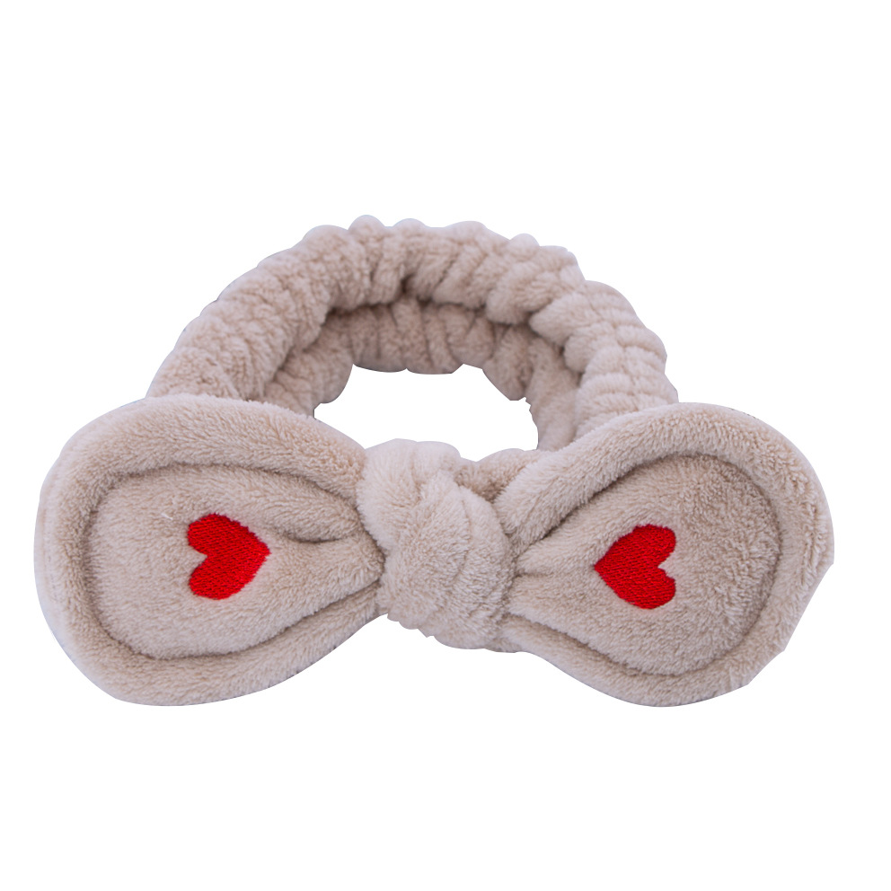 Big Rabbit Ear Soft Elastic Hair Band Embroidered Love Heart For Women Girls Headwear Headbands Coral Fleece Hair Accessories in Women 39 s Hair Accessories from Apparel Accessories