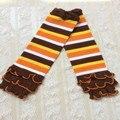 Подарок праздника, желтый orange белый коричневые полосатые ноги теплые, вязать Рюшами Девочки Ноги теплые, весна Рычаг Теплее для детей