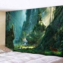 Будда на дне долины, гобелен на стену, мандала, Богемия, 5 размеров, спальный коврик для путешествий, полиэстер, ткань