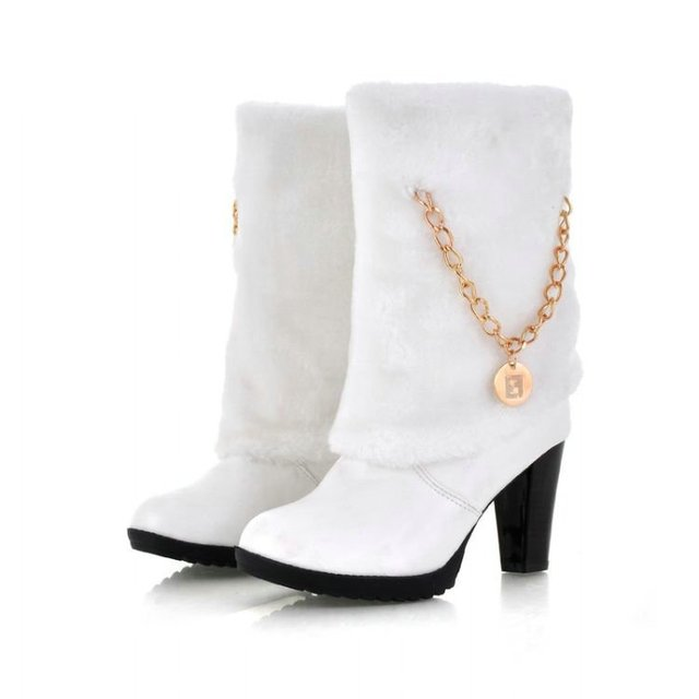 free shipping wholesale cheap winter boots 2011 new metal chain high heel women casual boots with imitation fur solid us 4-8.5