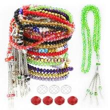 Collar musulmán de cuentas de oración de cristal islámico, vaso rojo de 6MM, 99 Uds., colgante de Collar de cristal, pulsera, Rosario