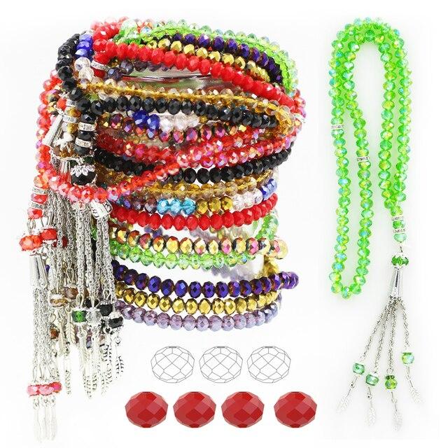 Islamic Crystal Prayer Beads Muslim Necklace Red Beaed 6MM 99PCS Beading Glass Collar Pendant Bracelet Rosary