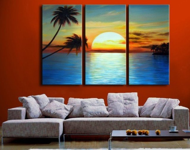 Handpainted 3 Piece Modern Landscape Oil Painting On Canvas Wall Art Sunset Beach And Palm Tree