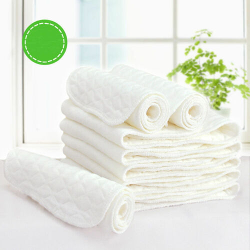 10PCS 3 Layers Cotton Reusable Baby Modern Cloth Diaper Nappy Liners Insert