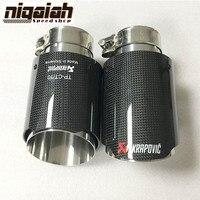 DHL Free Shipping 2PC Akrapovic Car Bright Carbon Fiber Exhaust End Pipes Single Muffler Tips