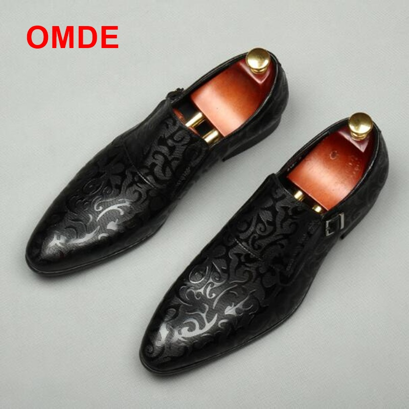 OMDE 2018 Summer New Arrival British Style Genuine Leather Mens Dress Shoes Pointed Toe Loafers Men Slip-on Wedding Shoes 2017 spring autumn fish pattern leather iron pointed toe shoes men slip on breathable lighted british style mens wedding shoes page 4