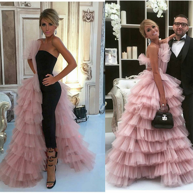Unique Long   Prom     Dresses   2019 Tiered Tulle Chic Evening   Dress   Off the Shoulder Floor Length Formal Gown Party Wear Abendkleider