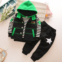 BibiCola winter boys clothing sets cotton hooded sports suits children boys casual thicken striped outfits 3pcs velvet outerwear