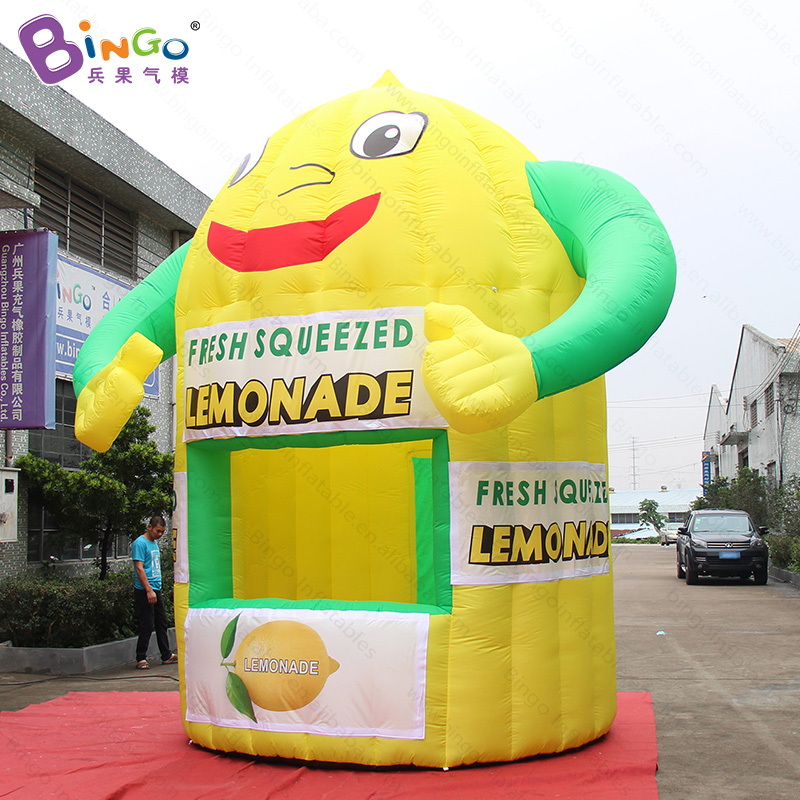3X4.35X4.5 meters inflatable lemon booth , inflatable lemonade tent , customized inflatable lemon kiosk toy tent