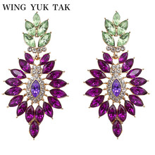 2017 Promotion Brincos Pendientes Mujer Wing Yuk Tak Brand Earrings Fashion Classic New Elegant Gorgeous Crystal Leaf For Women