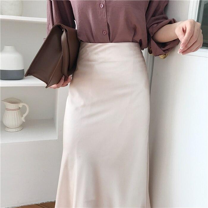 summer elegant high waist women long skirt solid A-line faldas mujer female solid slim jupe femme saia longa 16