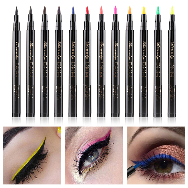 1PC Colorful Liquid Eyeliner Pencils Fast Dry Long Lasting Waterproof Thin Head Eye Liner Pen Makeup Tools Black/Blue/Red/Brown 1