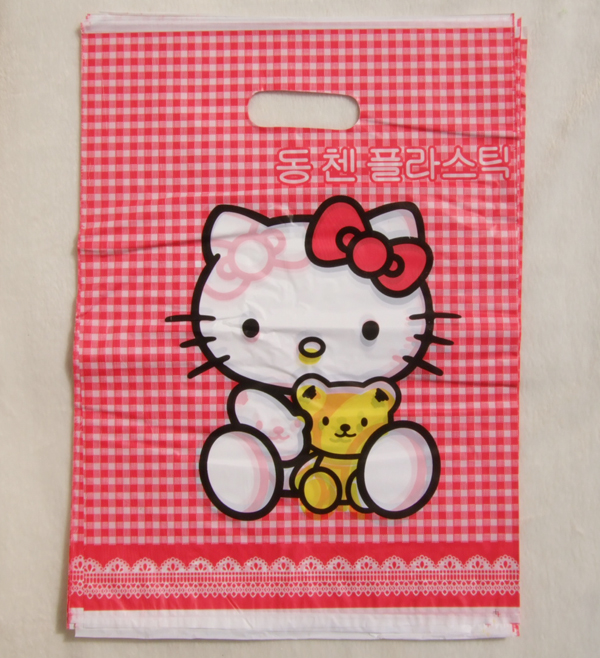 20Pcs/Lot Hello Kitty gift bags small red check Patterns two face with handle 25*36cm LDPE