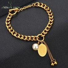 Nextvance – Bracelet pendentif médaille de la vierge marie en or, amulette de perle simulée, cadeau, bijoux religieux et chrétien
