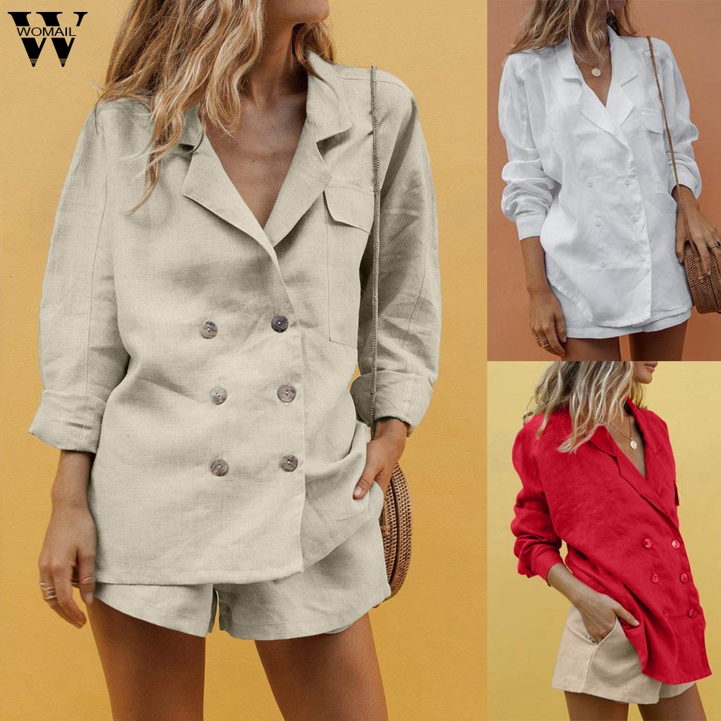 Womail Women Tracksuit Cotton Fashion Casual 2 Piece Set Button  Temperament Suit Pocket Shorts Suit Outfit 2019 J63