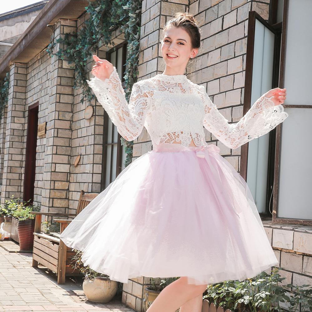 1065bbcdd 5 capas Midi tul Faldas Mujer moda tutú falda elegante Boda nupcial dama de  honor falda boda Lolita ...