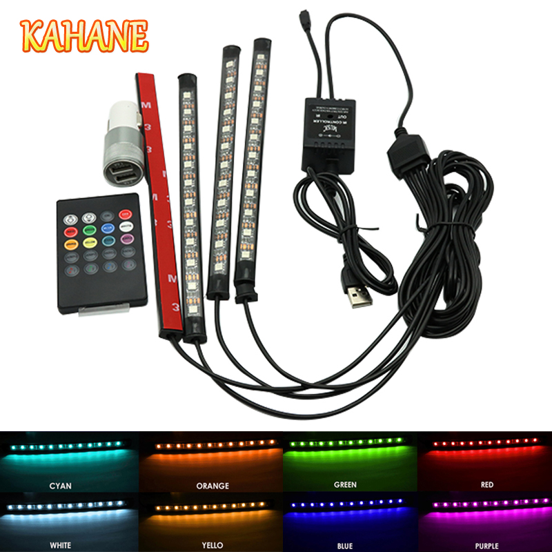 KAHANE 4x12 LED RGB Auto Remote Control Car Interior Floor Decorative Atmosphere Light Lamp Strips USB+Cigarette Lighter 4 in 1 12v auto car atmosphere light interior floor dash decoration light foot led lamp bar 9 leds with cigarette lighter