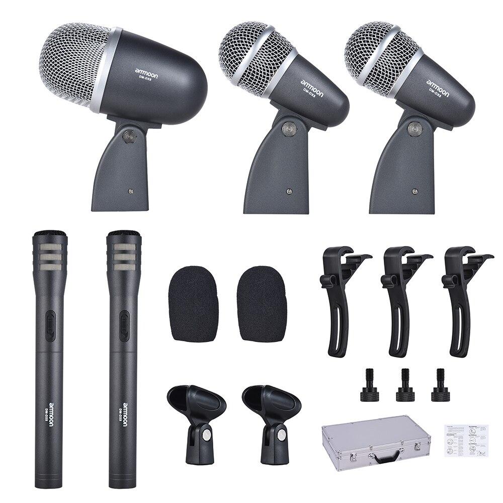 Ammoon DM-DX8 ensemble de 5 tambours filaires professionnels Kit micro micro avec accessoires de montage de Microphone à tambour boîtier en aluminium