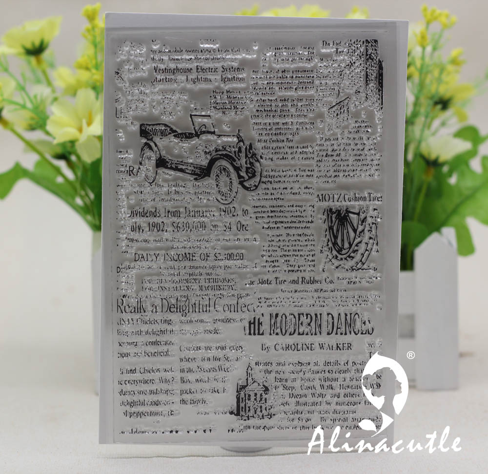 CLEAR STAMPS one piece newspaper background Alinacraft Scrapbooking Card paper craft silicon rubber roller transparent stamp