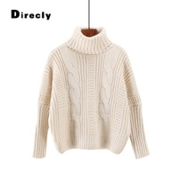 Direcly 2018 Sweater And Pullover For Women Fall Winter Turtleneck Thick Batwing Sleeve Top Knitwear Female Jumper Knitted
